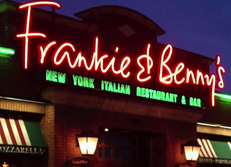 Frankie & Benny's sign at night