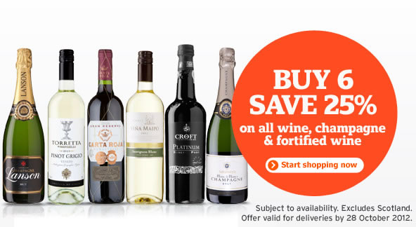 Sainsburys Wine - Buy 6 bottles and save 25% (for deliveries from 19-28 October)